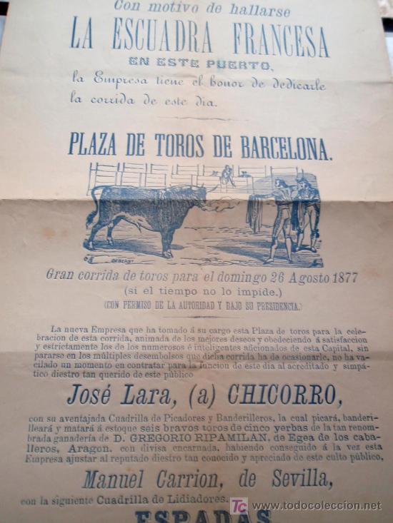 Carteles Toros: CARTEL TOROS BARCELONA , 1877, MOTIVO VISITA DE LA ESCUADRA FRANCESA, - Foto 6 - 19562075
