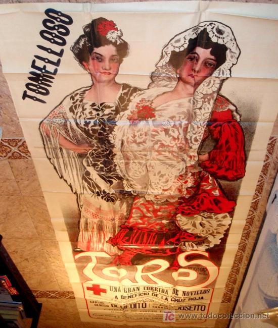 CARTEL TOROS TOMELLOSO , CIUDAD REAL , FERIAS Y FIESTAS, 1908 , ESPECTACULAR, ILUSTRADOR PERTEGAS (Coleccionismo - Carteles Gran Formato - Carteles Toros)