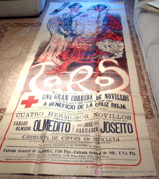 Carteles Toros: CARTEL TOROS TOMELLOSO , CIUDAD REAL , FERIAS Y FIESTAS, 1908 , ESPECTACULAR, ILUSTRADOR PERTEGAS - Foto 2 - 23506450