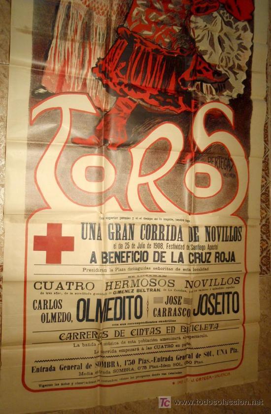 Carteles Toros: CARTEL TOROS TOMELLOSO , CIUDAD REAL , FERIAS Y FIESTAS, 1908 , ESPECTACULAR, ILUSTRADOR PERTEGAS - Foto 4 - 23506450