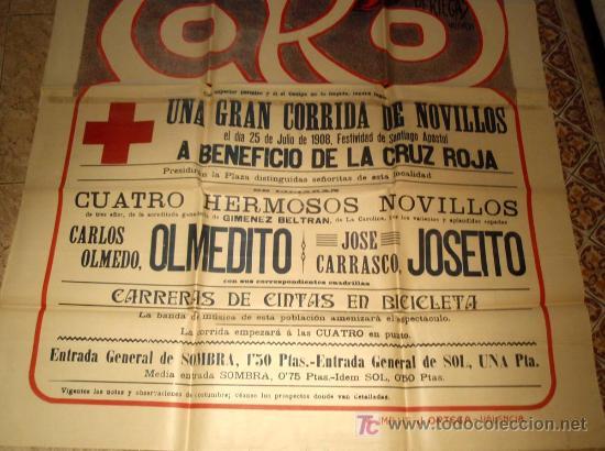 Carteles Toros: CARTEL TOROS TOMELLOSO , CIUDAD REAL , FERIAS Y FIESTAS, 1908 , ESPECTACULAR, ILUSTRADOR PERTEGAS - Foto 5 - 23506450