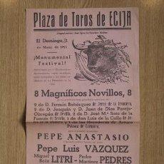 Cartazes Touros: CARTEL DE TOROS DE ÉCIJA. 1 DE MARZO DE 1953. LITRI, PEDRÉS, ZURITO, ETC.. Lote 12882990