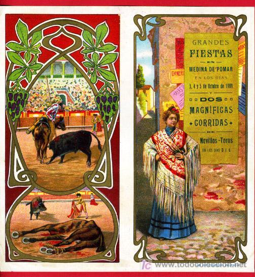 CARTEL TOROS MEDINA DE POMAR 1909 , BURGOS. CROMOLITOGRAFICO.SIN DOBLAR, UNA JOYA. (Coleccionismo - Carteles Gran Formato - Carteles Toros)