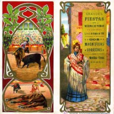 Carteles Toros: CARTEL TOROS MEDINA DE POMAR 1909 , BURGOS. CROMOLITOGRAFICO.SIN DOBLAR, UNA JOYA.. Lote 24314303