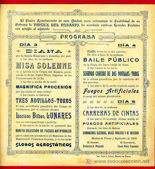 Carteles Toros: CARTEL TOROS MEDINA DE POMAR 1909 , BURGOS. CROMOLITOGRAFICO.SIN DOBLAR, UNA JOYA. - Foto 2 - 24314303