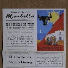 Carteles Toros: CARTEL DE TOROS DE MARBELLA. 25, 26 Y 27 DE JULIO DE 1969. EL CORDOBÉS, Y SEBASTIÁN PALOMO LINARES.. Lote 12969899