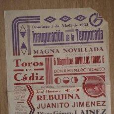 Carteles Toros: CARTEL DE TOROS DE CÁDIZ.. Lote 26655434