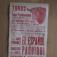 Carteles Toros: CARTEL DE TOROS DE SAN FERNANDO.. Lote 13015102