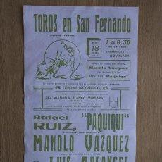 Carteles Toros: CARTEL DE TOROS DE SAN FERNANDO.. Lote 13022946