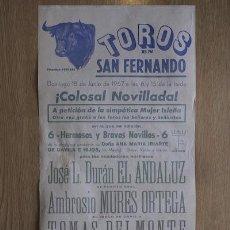 Carteles Toros: CARTEL DE TOROS DE SAN FERNANDO.. Lote 13023057