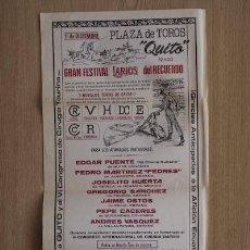 Carteles Toros: CARTEL DE TOROS DE QUITO. ECUADOR.. Lote 24692235