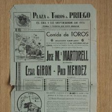Carteles Toros: CARTEL DE TOROS DE PRIEGO. . Lote 13223964