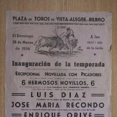 Carteles Toros: CARTEL DE TOROS DE VISTA-ALEGRE. BILBAO.. Lote 24351976