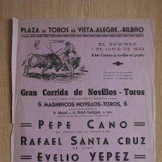 Carteles Toros: CARTEL DE TOROS DE VISTA-ALEGRE. BILBAO.. Lote 24351977