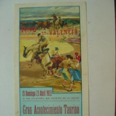 Carteles Toros: CARTEL DE TOROS - VALENCIA - ABRIL DE 1933 - LITOGRAFIA - ILUST.: ROBERTO DOMINGO. Lote 26971410