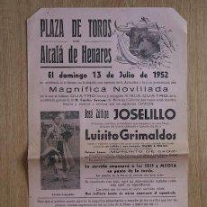 Carteles Toros: CARTEL DE TOROS DE ALCALÁ DE HENARES. . Lote 27017095