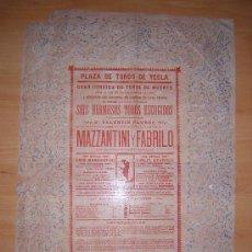 Carteles Toros: RARISIMO CARTEL DE TOROS DE YECLA 1894 MAZZANTINI Y FABRILO. Lote 27598313