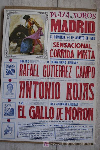 CARTEL DE TOROS DE MADRID. 1980. (Coleccionismo - Carteles Gran Formato - Carteles Toros)