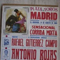 Carteles Toros: CARTEL DE TOROS DE MADRID. 1980.. Lote 13623549