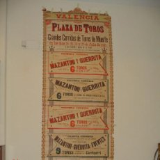 Carteles Toros: CARTEL DE TOROS .VALENCIA 1895. Lote 21896446