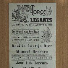 Carteles Toros: CARTEL DE TOROS DE LEGANÉS. 1958.. Lote 13685553