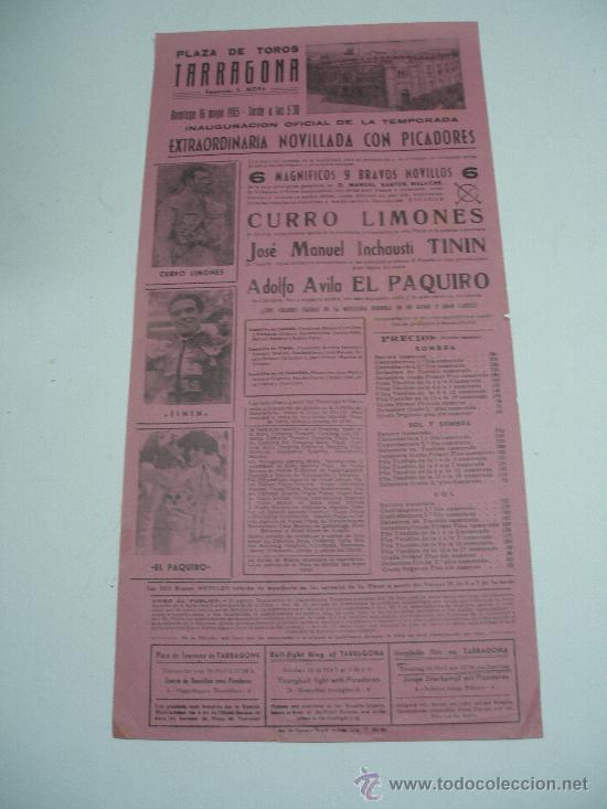 CARTEL TOROS EN TARRAGONA . 1965 . NOVILLADA CON PICADORES . CURRO LIMONES , EL PAQUIRO , TININ . (Coleccionismo - Carteles Gran Formato - Carteles Toros)