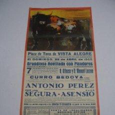 Carteles Toros: CARTEL TOROS EN VISTA ALEGRE . MADRID 1965 . NOVILLADA CON PICADORES . REJONEADOR CURRO BEDOYA .. Lote 13734013