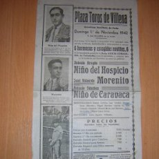 Carteles Toros: PLAZA DE TOROS DE VILLENA 1942 . Lote 27153015