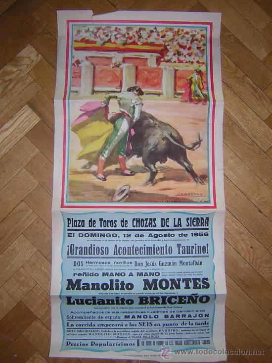 PLAZA DE TOROS DE CHOZAS DE LA SIERRA 12 DE AGOSTO DE 1956 GRANDE (Coleccionismo - Carteles Gran Formato - Carteles Toros)