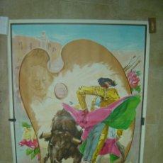 Carteles Toros: CARTEL GRANDE DE TOROS - SIN IMPRIMIR - LITOGRAFIA - ILUSTRADOR: J. REUS - AUTORETRATO REUS. Lote 137430158