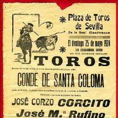 Carteles Toros: CARTEL TOROS , PLAZA DE TOROS SEVILLA , 1924. Lote 24915073