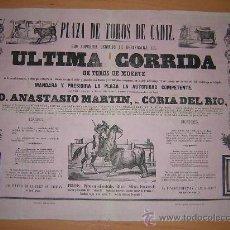 Carteles Toros: PLAZA DE TOROS DE CADIZ 1851. Lote 26381166