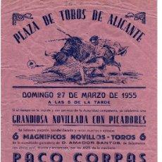Carteles Toros: CARTEL DE TOROS DE ALICANTE 1955. Lote 14525931