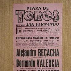 Carteles Toros: CARTEL DE TOROS DE SAN FERNANDO.. Lote 14754777