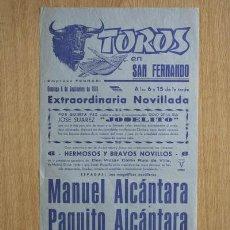 Carteles Toros: CARTEL DE TOROS DE SAN FERNANDO.. Lote 14754799
