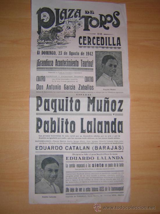 PLAZA DE TOROS DE CERCEDILLA 1942 (Coleccionismo - Carteles Gran Formato - Carteles Toros)
