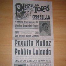 Carteles Toros: PLAZA DE TOROS DE CERCEDILLA 1942. Lote 27451297