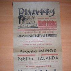 Carteles Toros: PLAZA DE TOROS DE MADRIDEJOS 1942. Lote 26680903