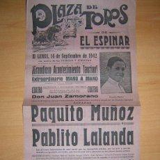Carteles Toros: PLAZA DE TOROS DE EL ESPINAR 1942. Lote 27534117