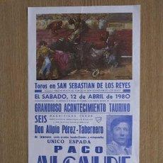 Carteles Toros: CARTEL DE TOROS DE SAN SEBASTIÁN DE LOS REYES. . Lote 46061562