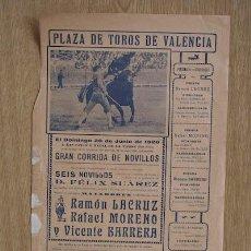 Carteles Toros: CARTEL DE TOROS DE VALENCIA. 1926.. Lote 14928522