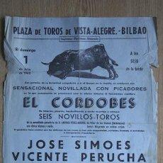 Carteles Toros: CARTEL DE TOROS DE VISTA-ALEGRE. BILBAO.. Lote 27252009