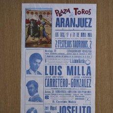 Carteles Toros: CARTEL DE TOROS DE ARANJUEZ. 1984.. Lote 24772123