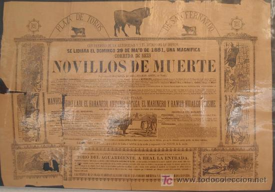 CARTEL TOROS SAN FERNANDO CADIZ , 1881 , ANTIGUO , ORIGINAL , (Coleccionismo - Carteles Gran Formato - Carteles Toros)