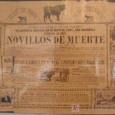 Carteles Toros: CARTEL TOROS SAN FERNANDO CADIZ , 1881 , ANTIGUO , ORIGINAL ,. Lote 19562040