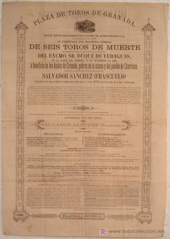 CARTEL TOROS GRANADA , 1881 , ANTIGUO , ORIGINAL , (Coleccionismo - Carteles Gran Formato - Carteles Toros)