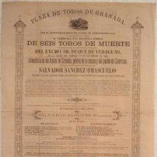 Carteles Toros: CARTEL TOROS GRANADA , 1881 , ANTIGUO , ORIGINAL ,. Lote 23506440
