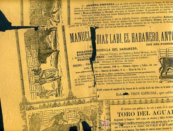 Carteles Toros: CARTEL TOROS SAN FERNANDO CADIZ , 1881 , ANTIGUO , ORIGINAL , - Foto 2 - 19562040
