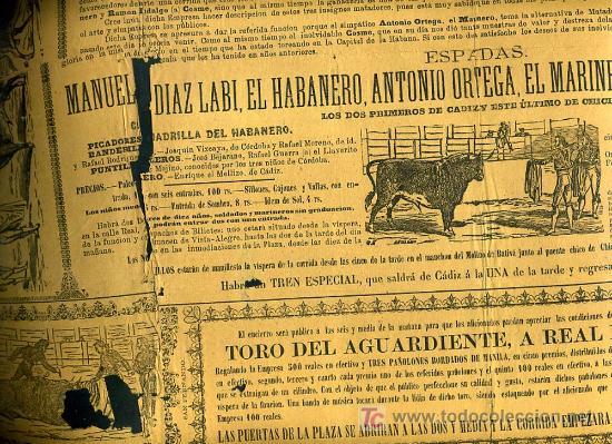 Carteles Toros: CARTEL TOROS SAN FERNANDO CADIZ , 1881 , ANTIGUO , ORIGINAL , - Foto 3 - 19562040