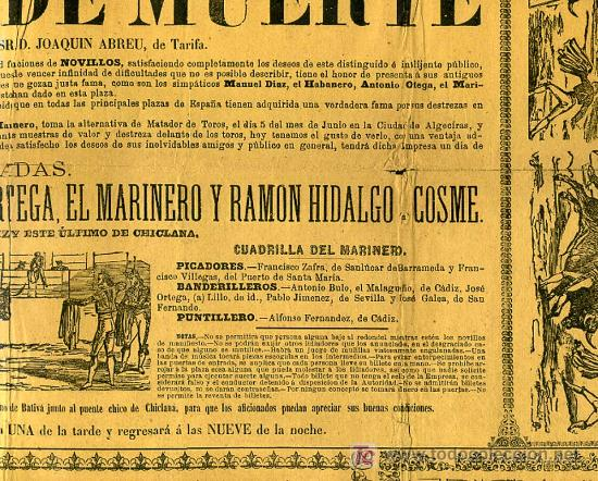 Carteles Toros: CARTEL TOROS SAN FERNANDO CADIZ , 1881 , ANTIGUO , ORIGINAL , - Foto 4 - 19562040